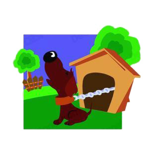 Dog attach to dog house calling at night listed in dogs decals.