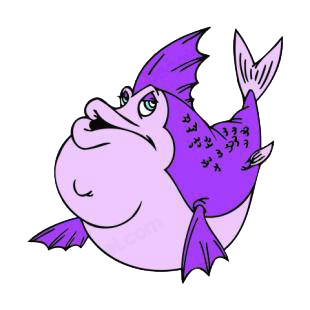 Fat purple fish listed in fish decals.