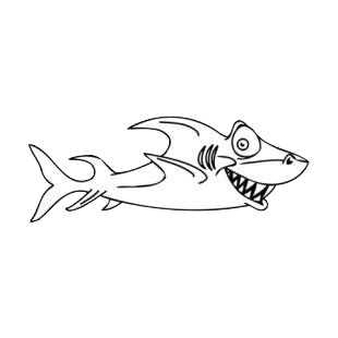 Shark with scary face listed in fish decals.