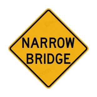 Narrow bridge warning sign listed in road signs decals.