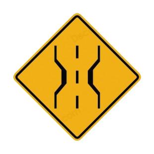 narrow bridge ahead warning sign road signs decals decal