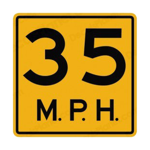 35 MPH speed limit warning sign listed in road signs decals.