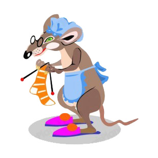 Grand mother rat knitting listed in rodents decals.
