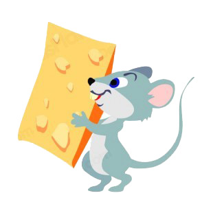 Mouse holding piece of cheese listed in rodents decals.