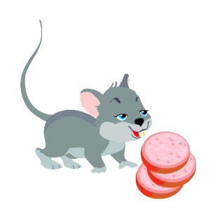 Mouse with slices of sausage listed in rodents decals.