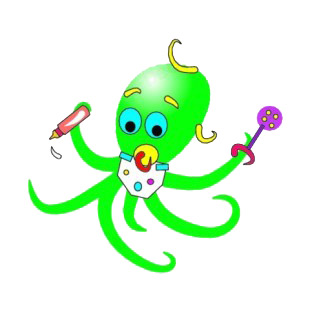 Green baby octopuss listed in fish decals.
