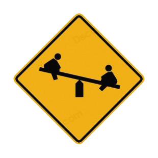 Children playground warning sign road signs decals, decal ...