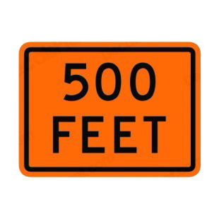 500 feet sign listed in road signs decals.