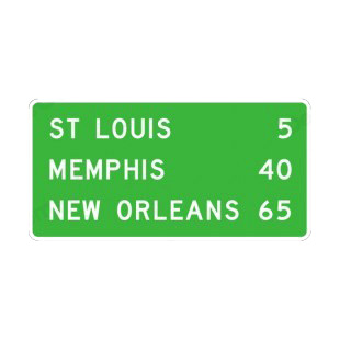 Distance For St Louis Memphis New Orleans Sign Road Signs Decals