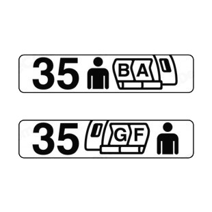 Airplane seat row indication sign listed in other signs decals.