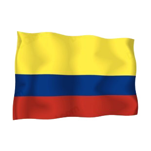 Colombia waving flag listed in flags decals.