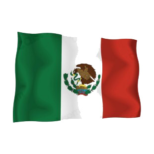 Mexico waving flag listed in flags decals.