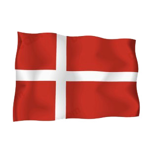 Denmark waving flag listed in flags decals.