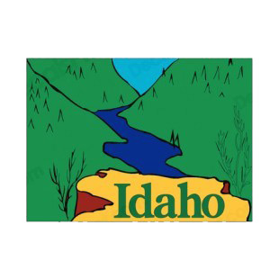 Idaho state listed in states decals.