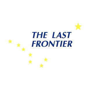 The Last Frontier Alaska state listed in states decals.