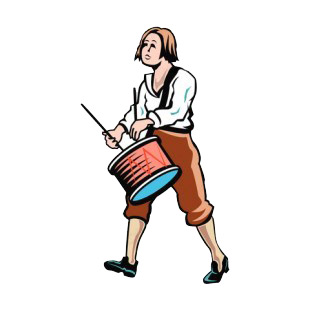 Woman drummer listed in symbols and history decals.