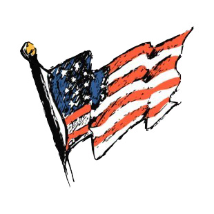 United States flag on a pole waving drawing listed in american flag decals.