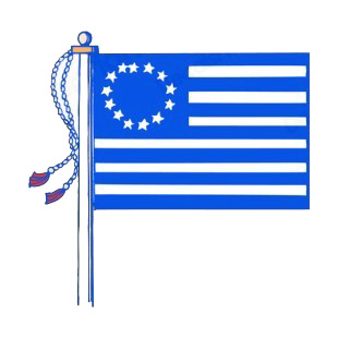 United States Betsy Ross flag on pole listed in american flag decals.