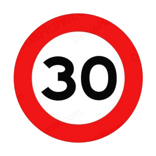 30 km per hour speed limit sign  listed in road signs decals.