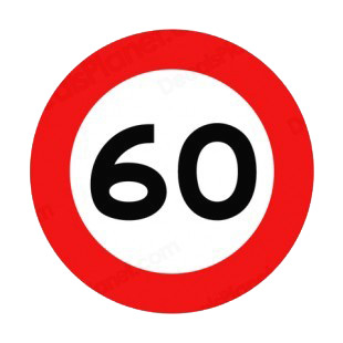 60 km per hour speed limit sign  listed in road signs decals.