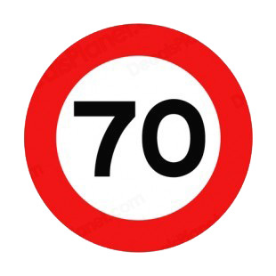 70 km per hour speed limit sign  listed in road signs decals.