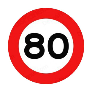 80 km per hour speed limit sign road signs decals decal sticker 9528. Black Bedroom Furniture Sets. Home Design Ideas