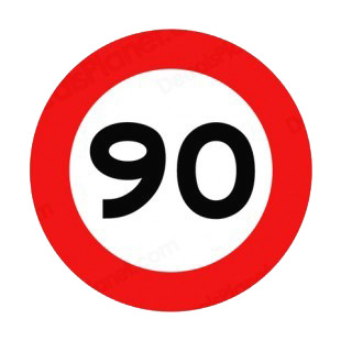 90 km per hour speed limit sign  listed in road signs decals.
