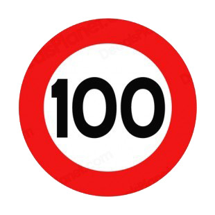 100 km per hour speed limit sign  listed in road signs decals.
