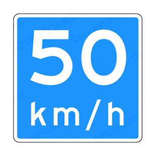 50 km per hour speed limit sign  listed in road signs decals.