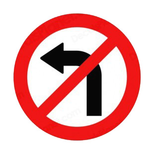 No left turn allowed sign  listed in road signs decals.