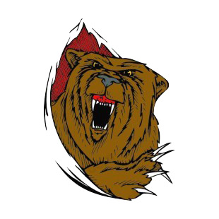 Angry brown bear drawing listed in more animals decals.