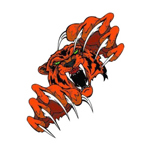 Angry orange tiger claws drawing listed in more animals decals.
