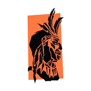 Native American chief  portrait listed in symbols and history decals.
