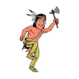 Native American dancing with axe in his hand listed in symbols and history decals.