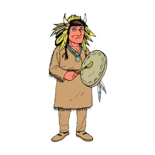 Native American playing tambourine listed in symbols and history decals.