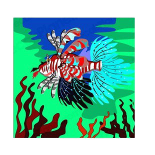 Multicolored Scorpion fish with seaweeds listed in more animals decals.