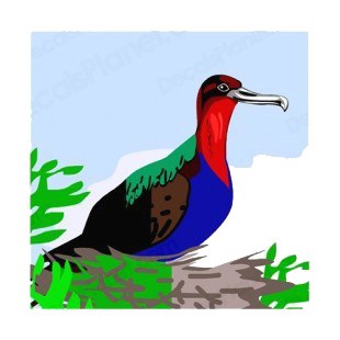 Muticolored bird sitting on nest listed in more animals decals.