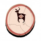 Native American pottery with moose logo, decals stickers