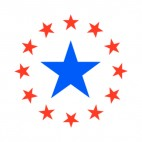 United States blue star with red stars circle, decals stickers