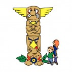 Boy and girl looking at totem pole, decals stickers