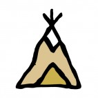 Native American teepee drawing, decals stickers