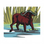 Bull walking through water, decals stickers