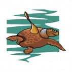 Brown turtle swimming, decals stickers