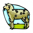Ewe eating, decals stickers