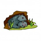 Grey wombat with baby, decals stickers