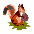 Squirrel holding pine cone, decals stickers