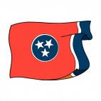 Tennessee state flag waving, decals stickers