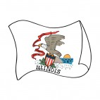Illinois state flag waving, decals stickers