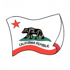 California state flag waving, decals stickers