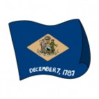 Delaware state flag waving, decals stickers